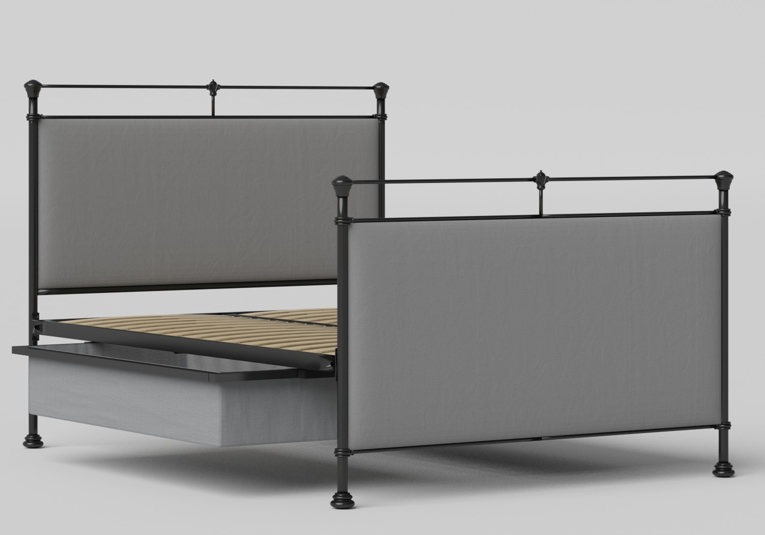 Lille Iron/Metal Upholstered Bed in Satin Black with Grey fabric shown with underbed storage