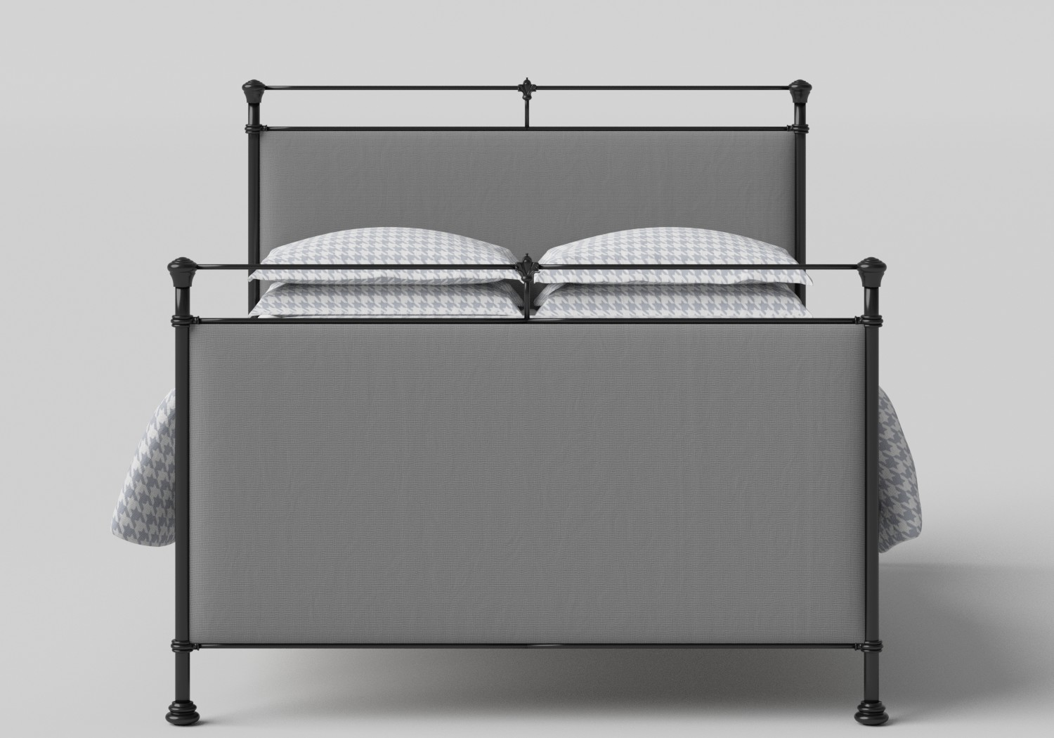 Lille Iron/Metal Upholstered Bed in Satin Black with Grey fabric