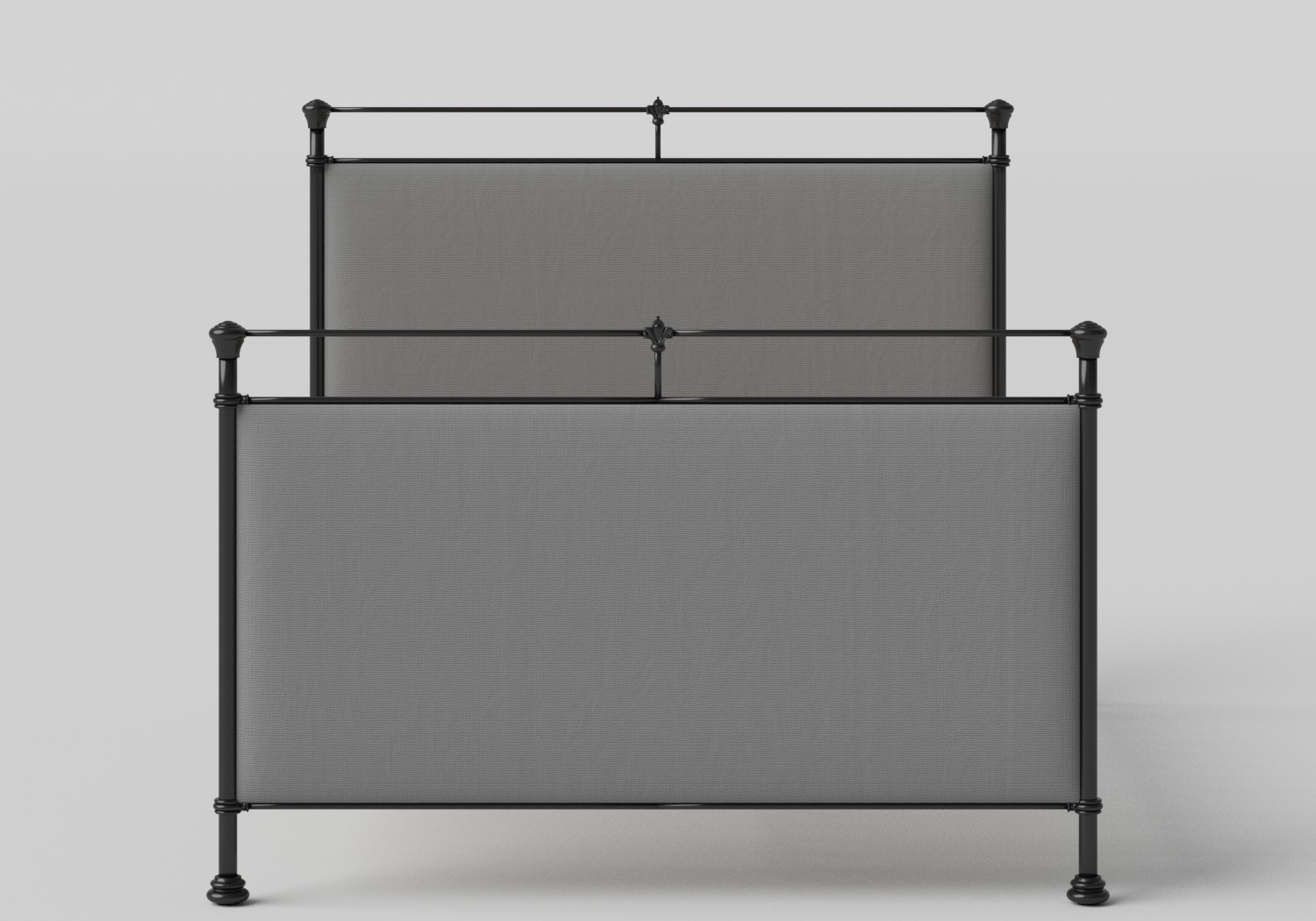 Lille Iron/Metal Upholstered Bed in Satin Black with Grey fabric and slatted frame