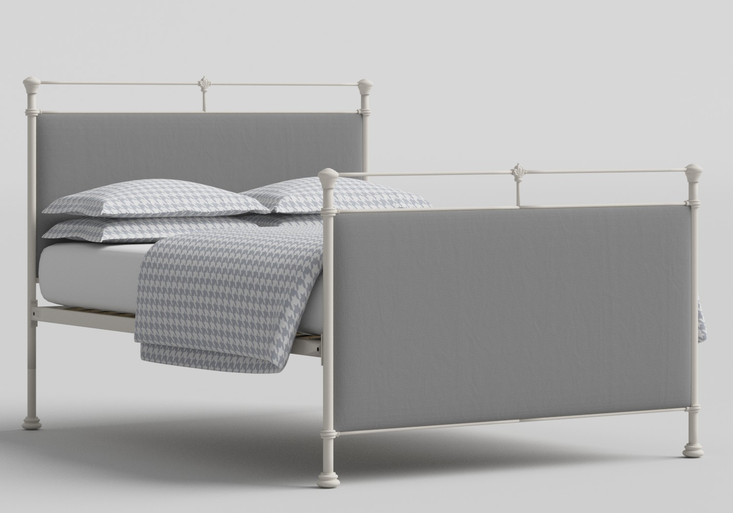 Lille Iron/Metal Upholstered Bed in Glossy Ivory with Grey fabric