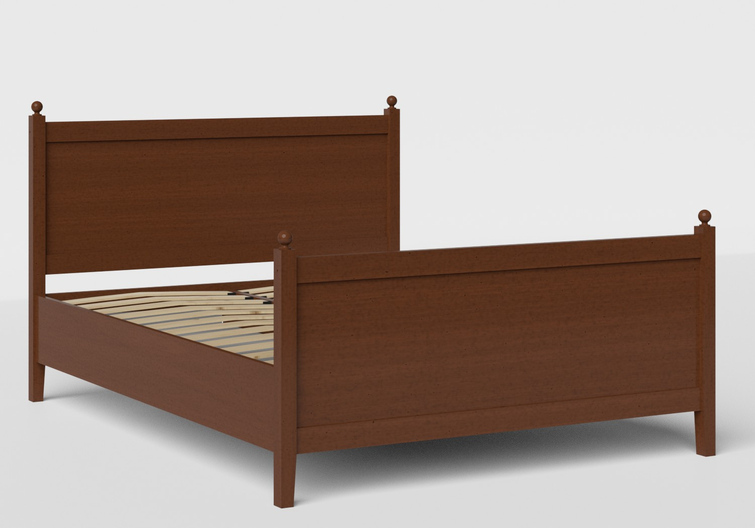 Marbella Wood Bed in Dark Cherry shown with slatted frame