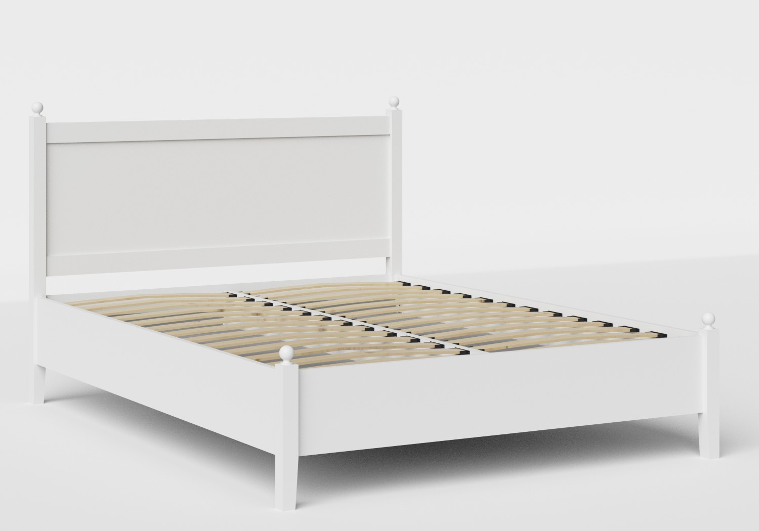 Marbella Low Footend Wood Bed in White shown with slatted frame