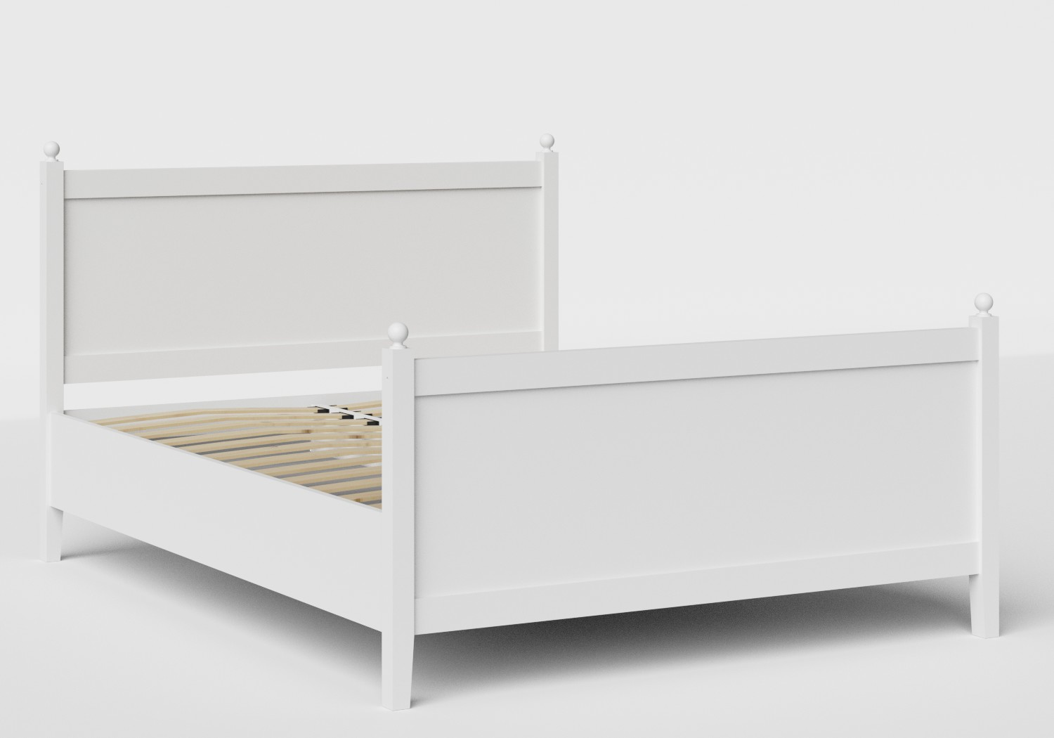 Marbella Wood Bed in White shown with slatted frame