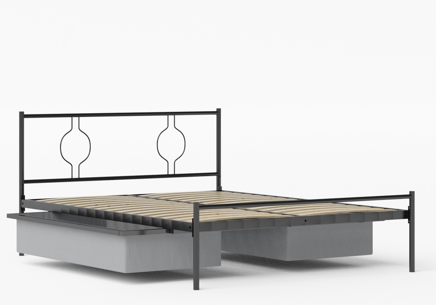 Meiji Iron/Metal Bed in Satin Black shown with underbed storage