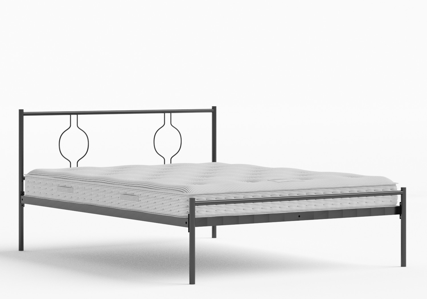 Meiji Iron/Metal Bed in Satin Black shown with Juno 1 mattress