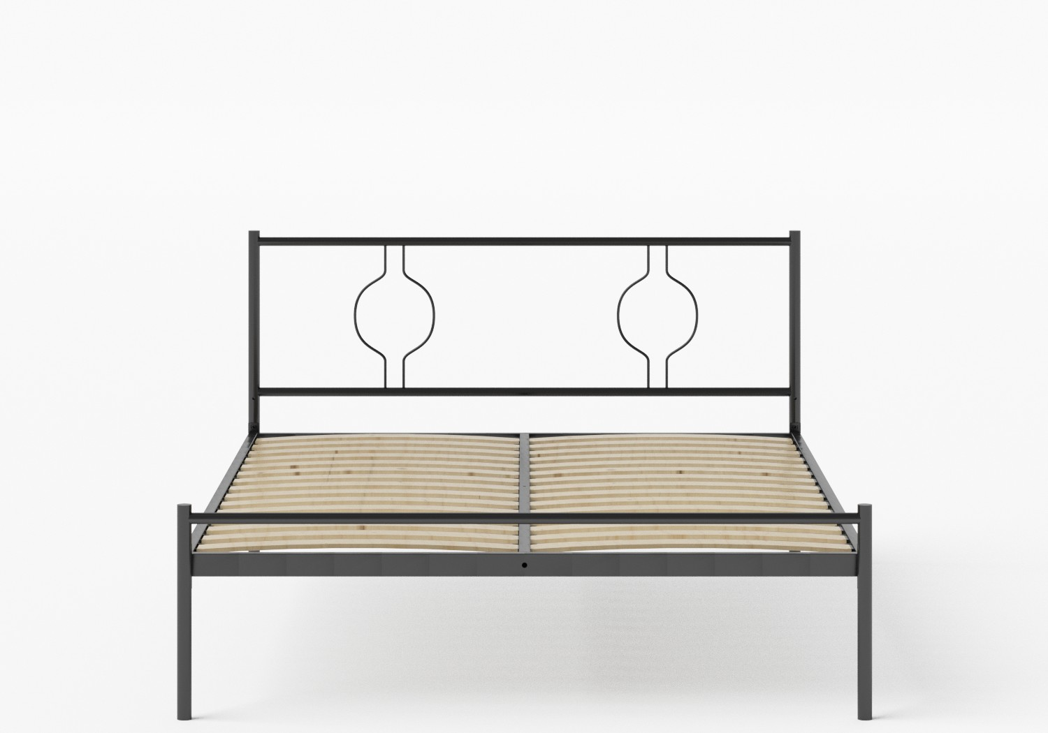 Meiji Iron/Metal Bed in Satin Black shown with slatted frame