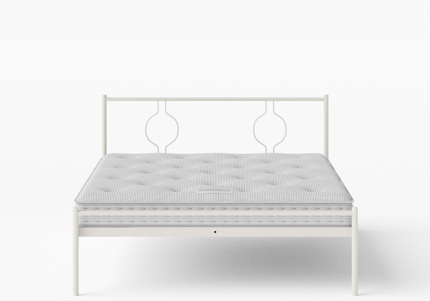 Meiji Iron/Metal Bed in Glossy Ivory shown with Juno 1 mattress