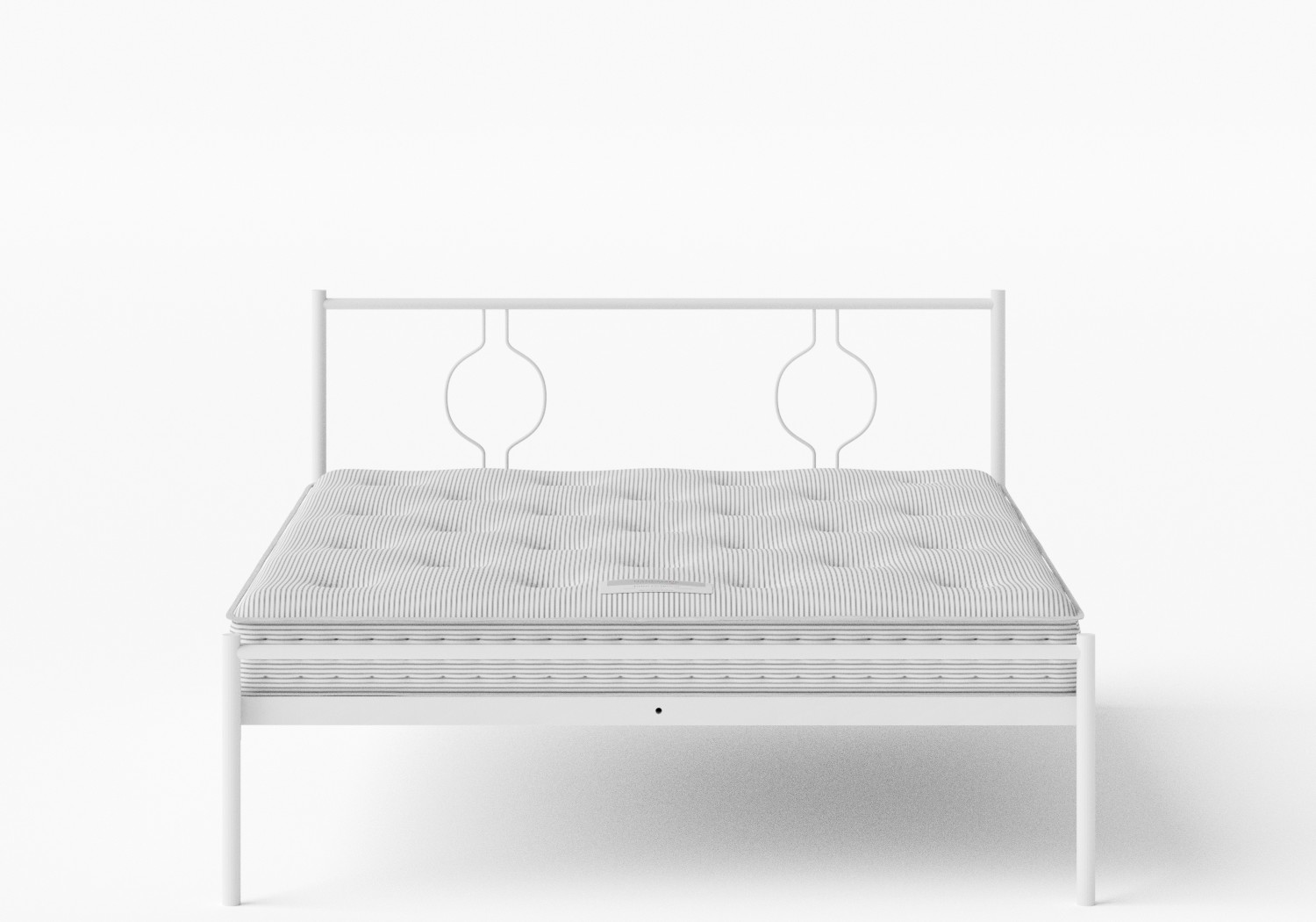 Meiji Iron/Metal Bed in Satin White shown with Juno 1 mattress
