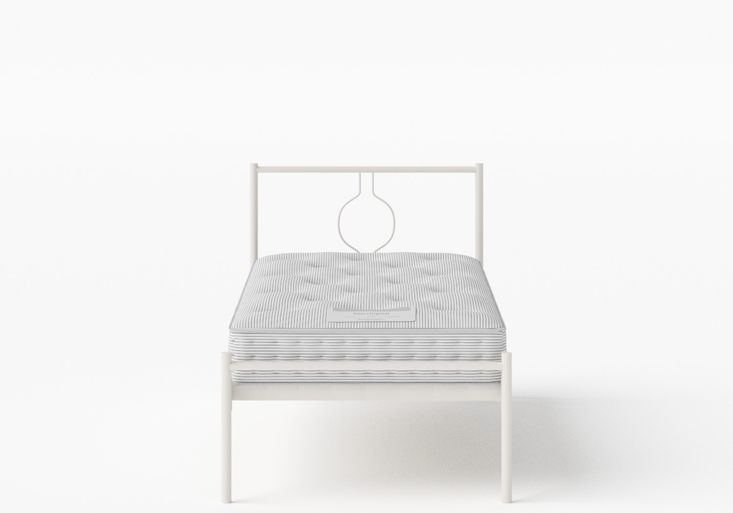 Meiji Single Iron/Metal Bed in Glossy Ivory shown with Juno 1 mattress