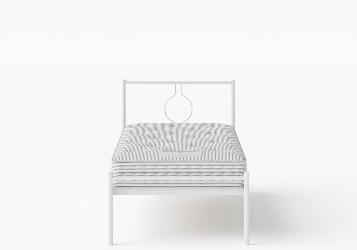 Meiji Single Iron/Metal Bed in Satin White shown with Juno 1 mattress