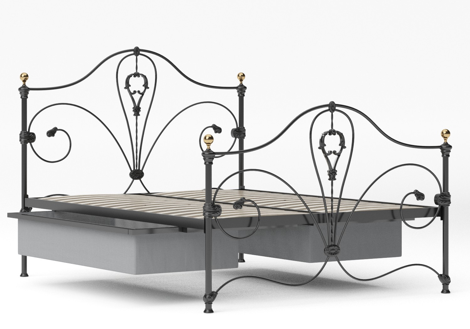 Melrose Iron/Metal Bed in Satin Black with Brass details shown with underbed drawer
