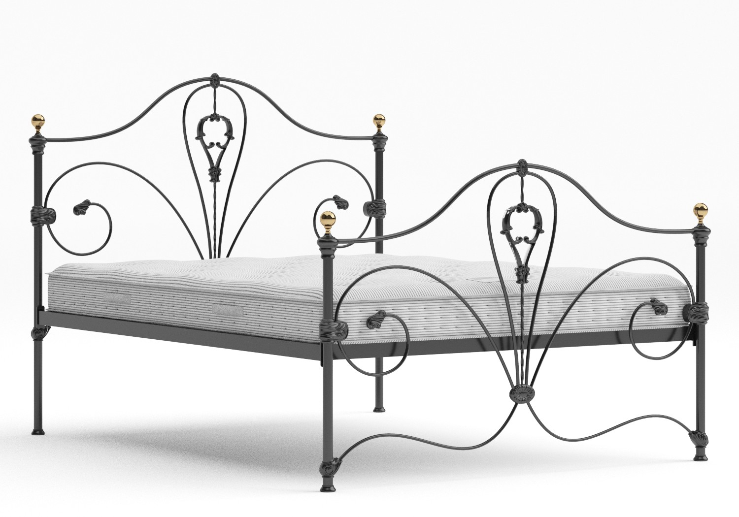 Melrose Iron/Metal Bed in Satin Black with Brass details shown with Juno 1 mattress