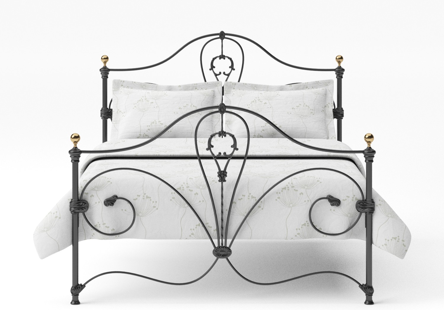 Melrose Iron/Metal Bed in Satin Black with Brass details