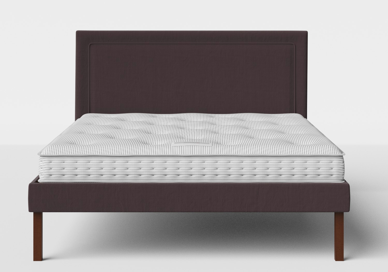 Misaki Upholstered Bed in Aubergine fabric shown with Juno 1 mattress
