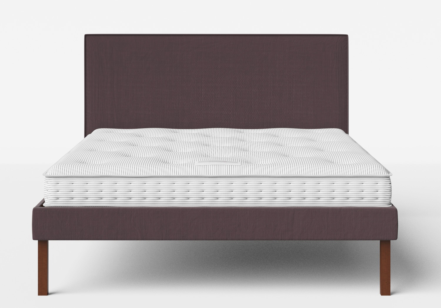 Misaki Upholstered Bed in Aubergine fabric with piping shown with Juno 1 mattress
