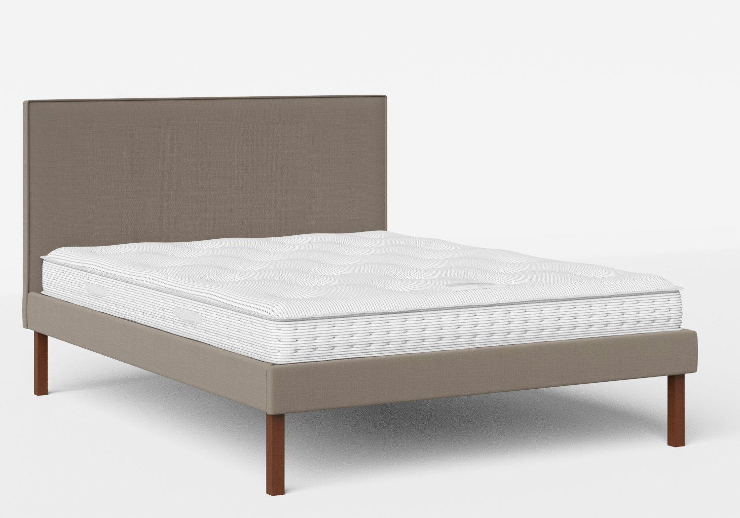 Misaki Upholstered Bed in Grey fabric with piping shown with Juno 1 mattress