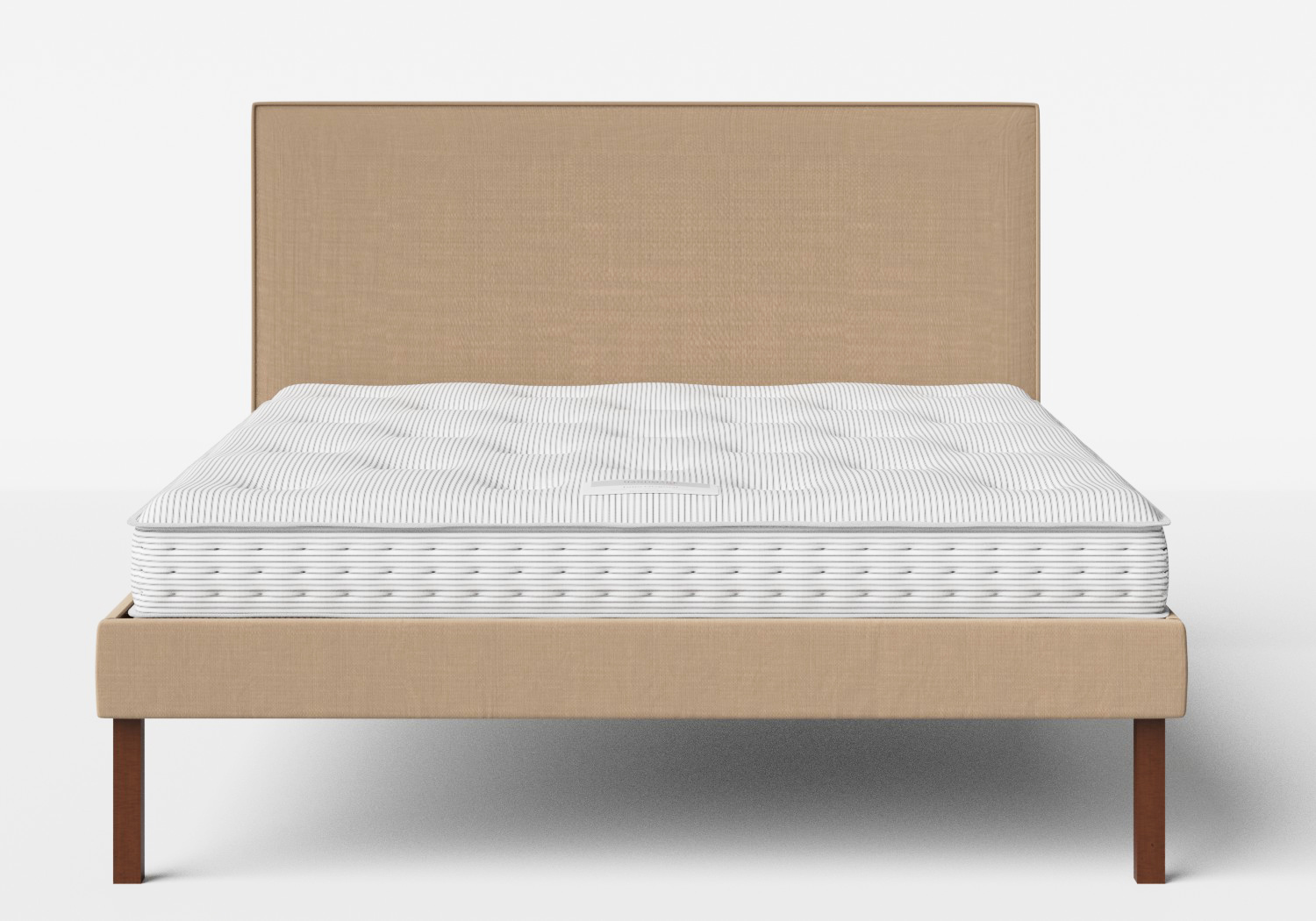 Misaki Upholstered Bed in Straw fabric with piping shown with Juno 1 mattress