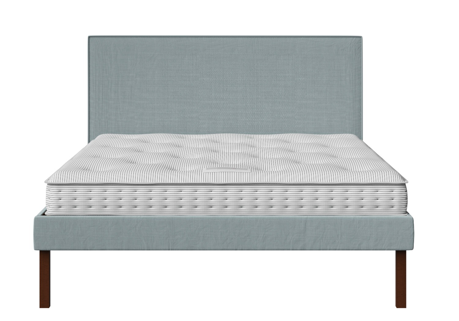 Misaki Upholstered Bed in Wedgewood fabric with piping shown with Juno 1 mattress
