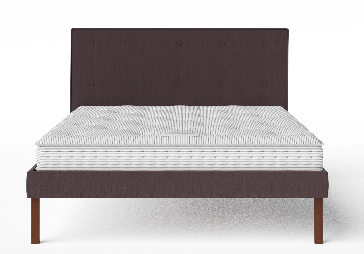 Misaki Upholstered Bed in Aubergine fabric with buttoning shown with Juno 1 mattress