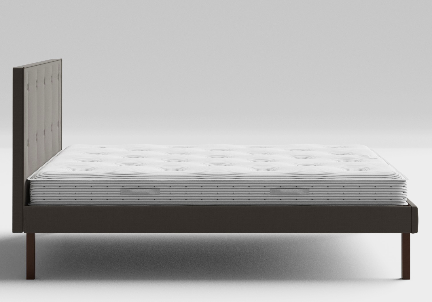 Misaki Upholstered Bed in Grey fabric with buttoning shown with Juno 1 mattress