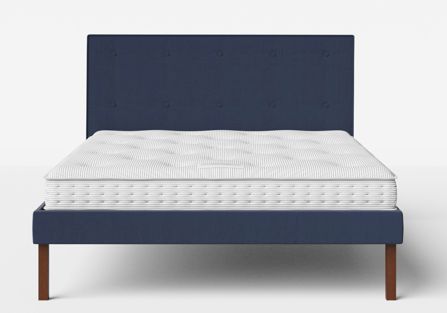 Misaki Upholstered Bed in Navy fabric with buttoning shown with Juno 1 mattress