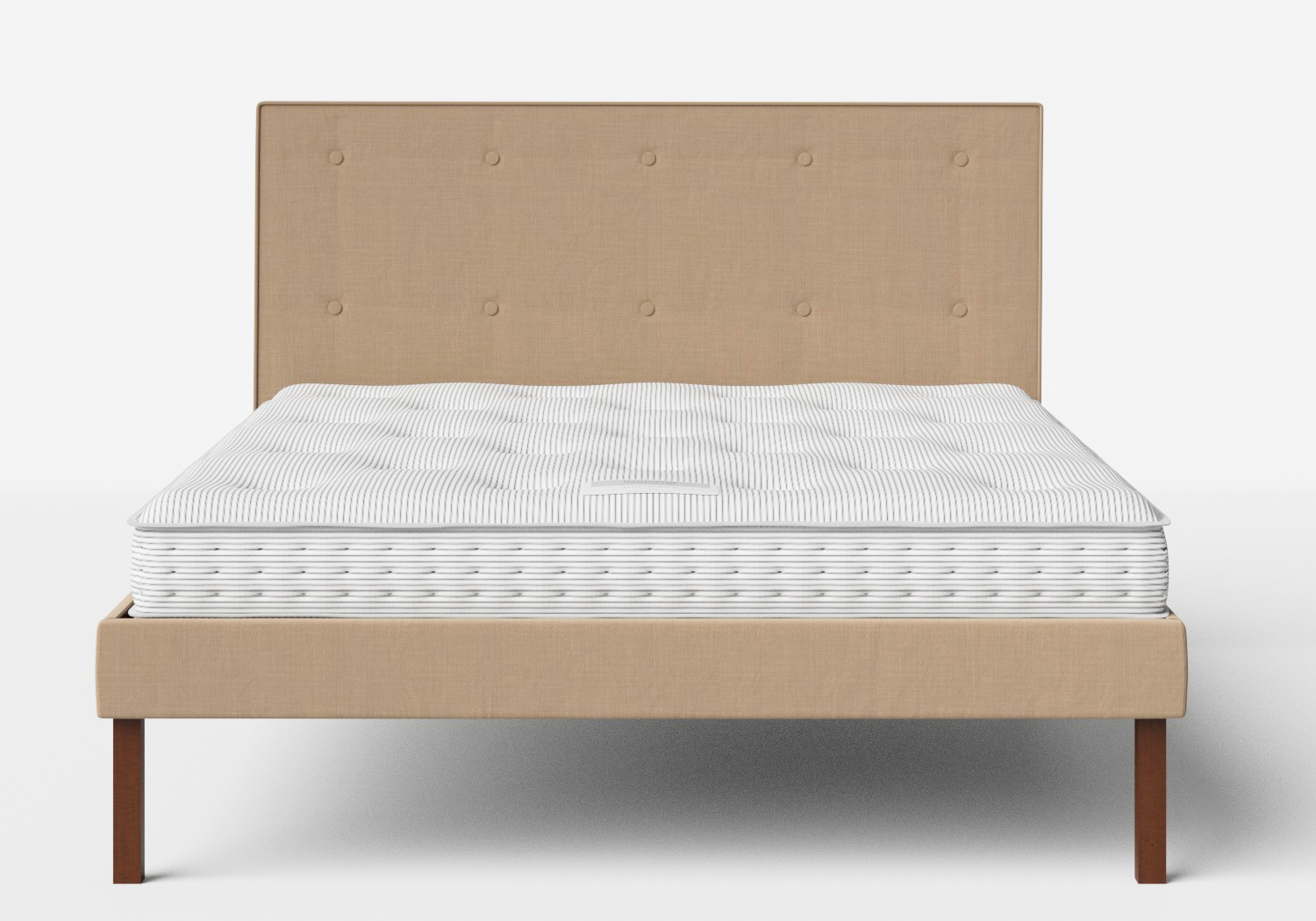 Misaki Upholstered Bed in Straw fabric with buttoning shown with Juno 1 mattress