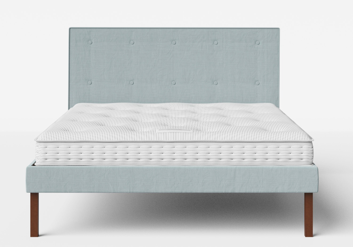 Misaki Upholstered Bed in Wedgewood fabric with buttoning shown with Juno 1 mattress