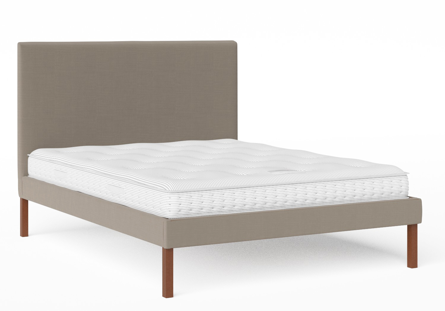Misaki Upholstered Bed in Grey fabric shown with slatted frame