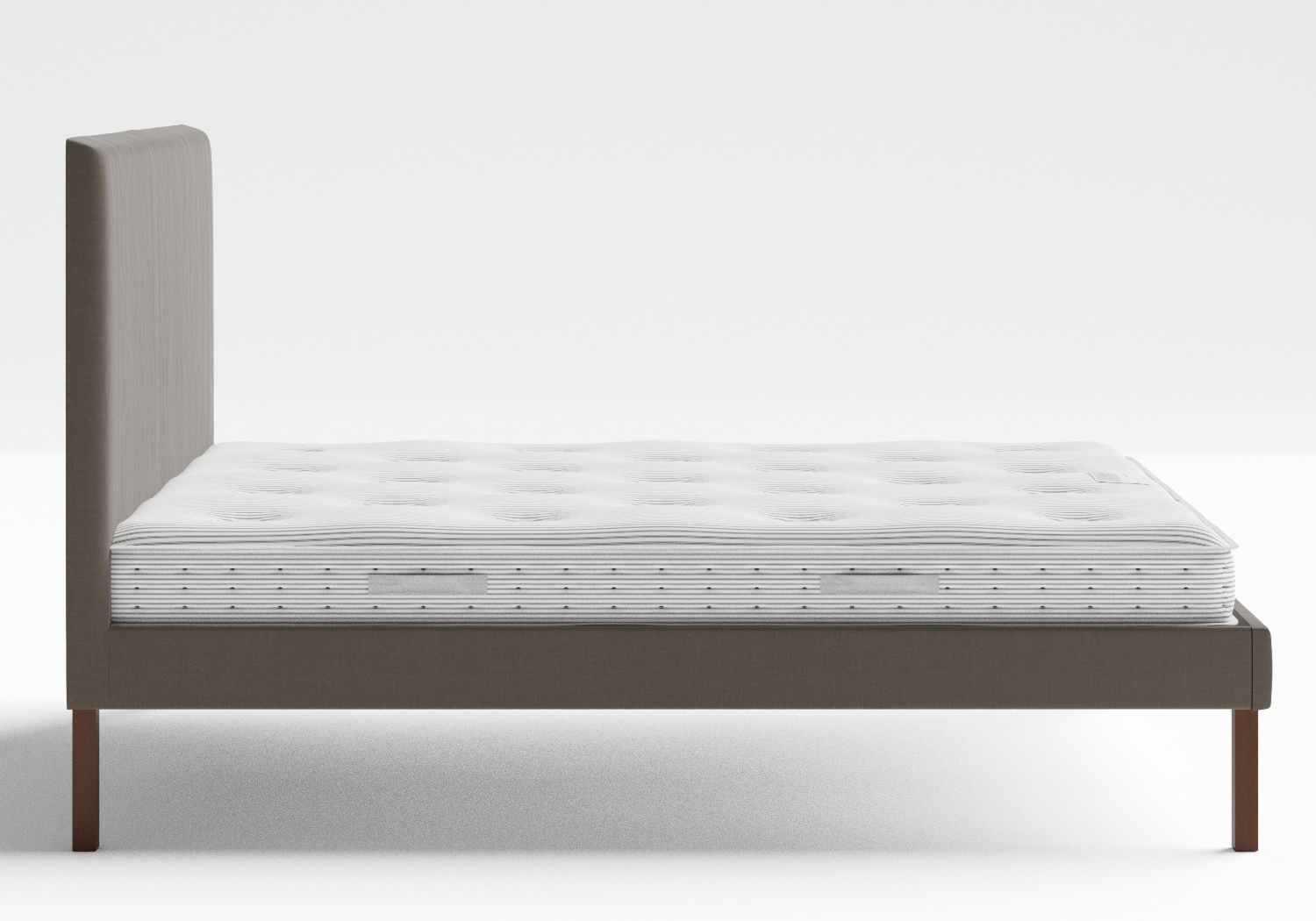 Misaki Upholstered Bed in Grey fabric shown with Juno 1 mattress