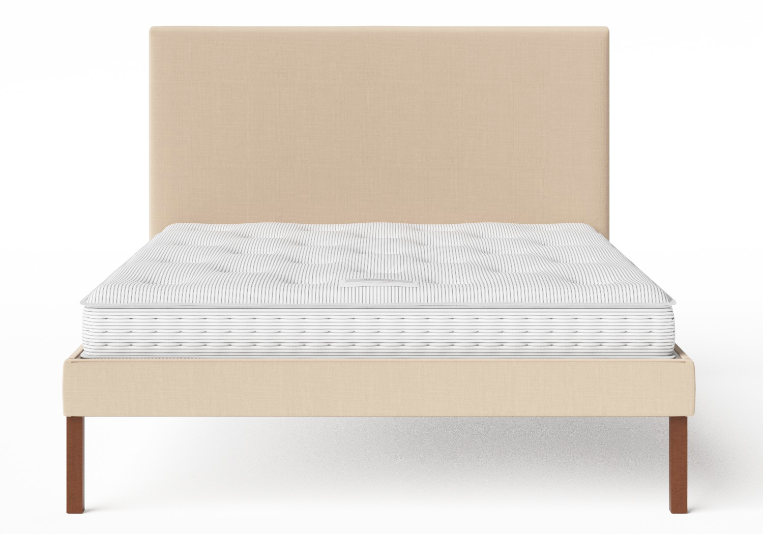 Misaki Upholstered Bed in Natural fabric shown with Juno 1 mattress