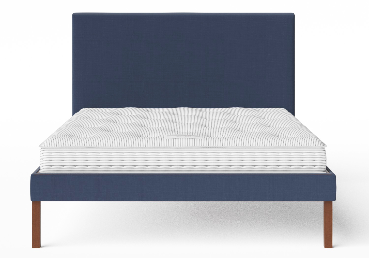 Misaki Upholstered Bed in Navy fabric shown with Juno 1 mattress