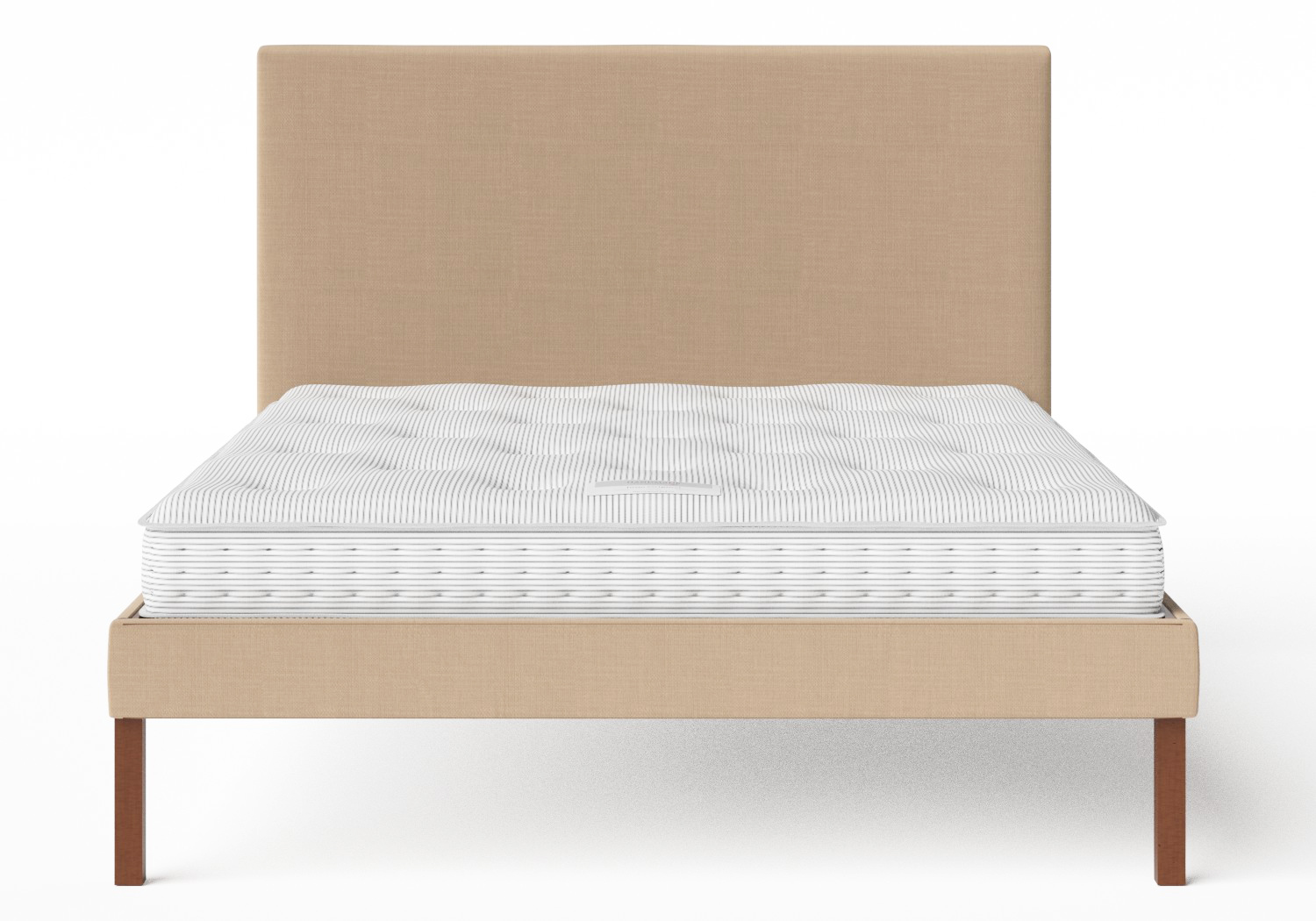 Misaki Upholstered Bed in Straw fabric shown with Juno 1 mattress