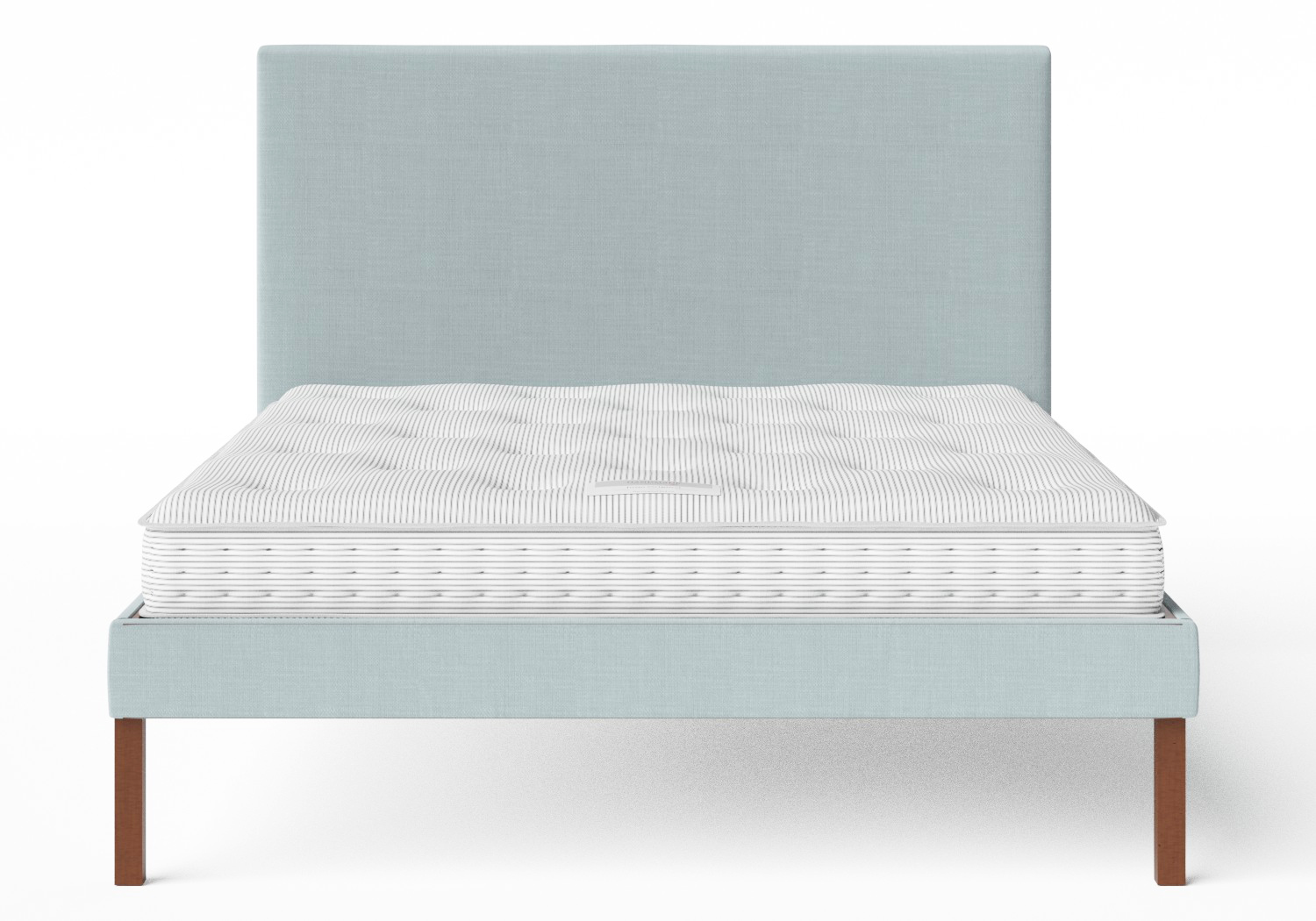 Misaki Upholstered Bed in Wedgewood fabric shown with Juno 1 mattress