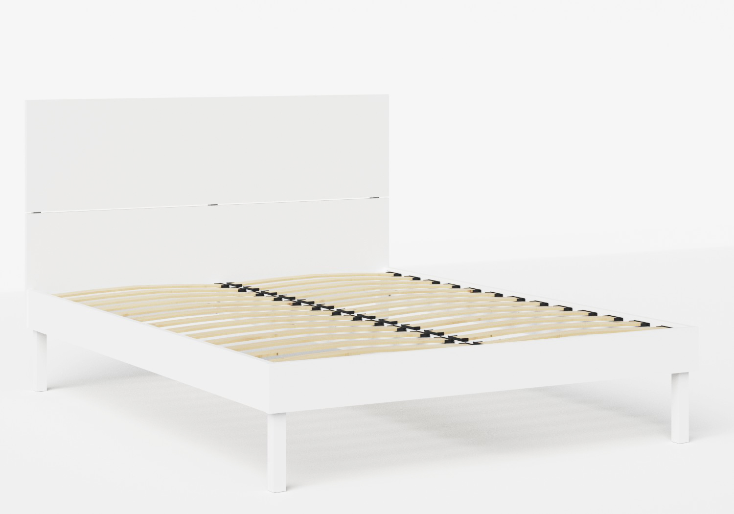 Misaki Wood Bed in White shown with slatted frame