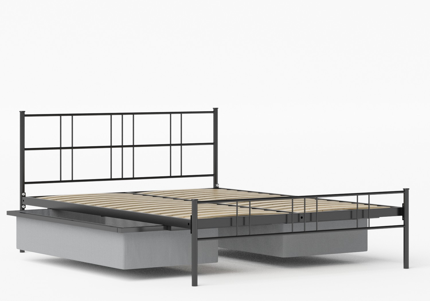 Mortlake Iron/Metal Bed in Satin Black shown with underbed storage