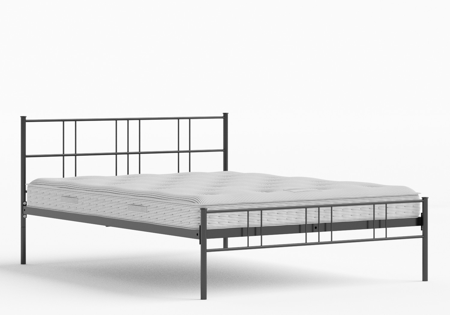 Mortlake Iron/Metal Bed in Satin Black shown with Juno 1 mattress