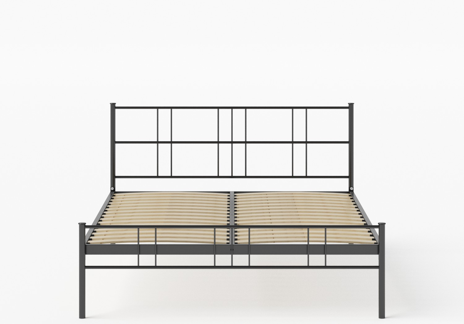 Mortlake Iron/Metal Bed in Satin Black shown with slatted frame