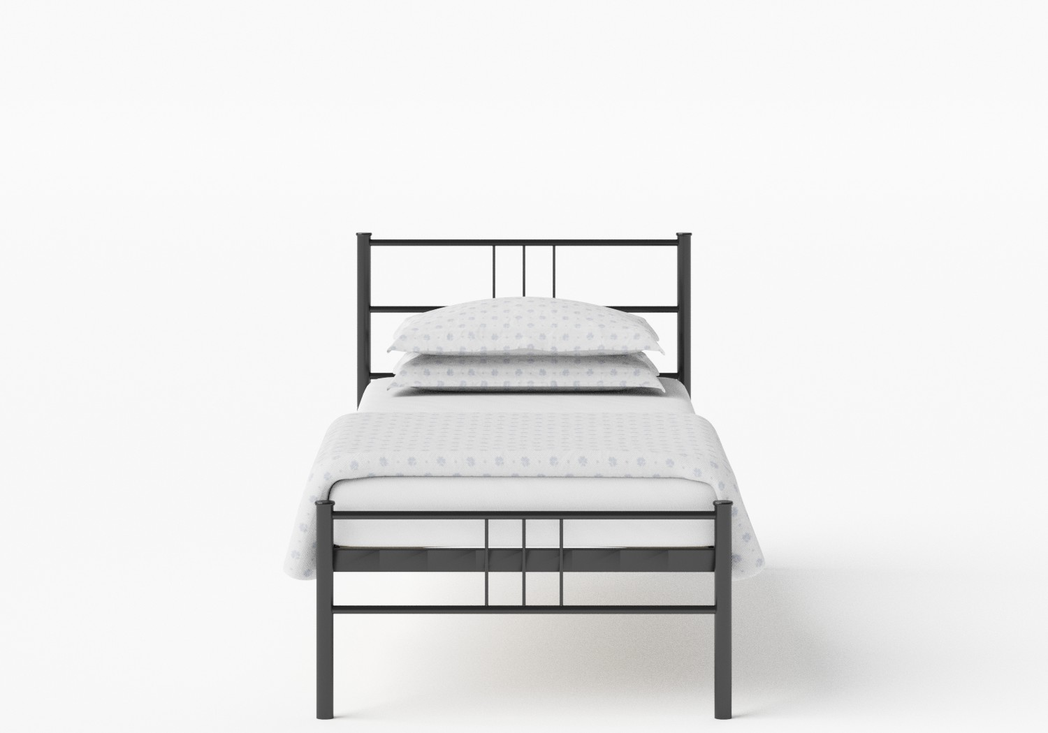 Mortlake Single Iron/Metal Bed in Satin Black