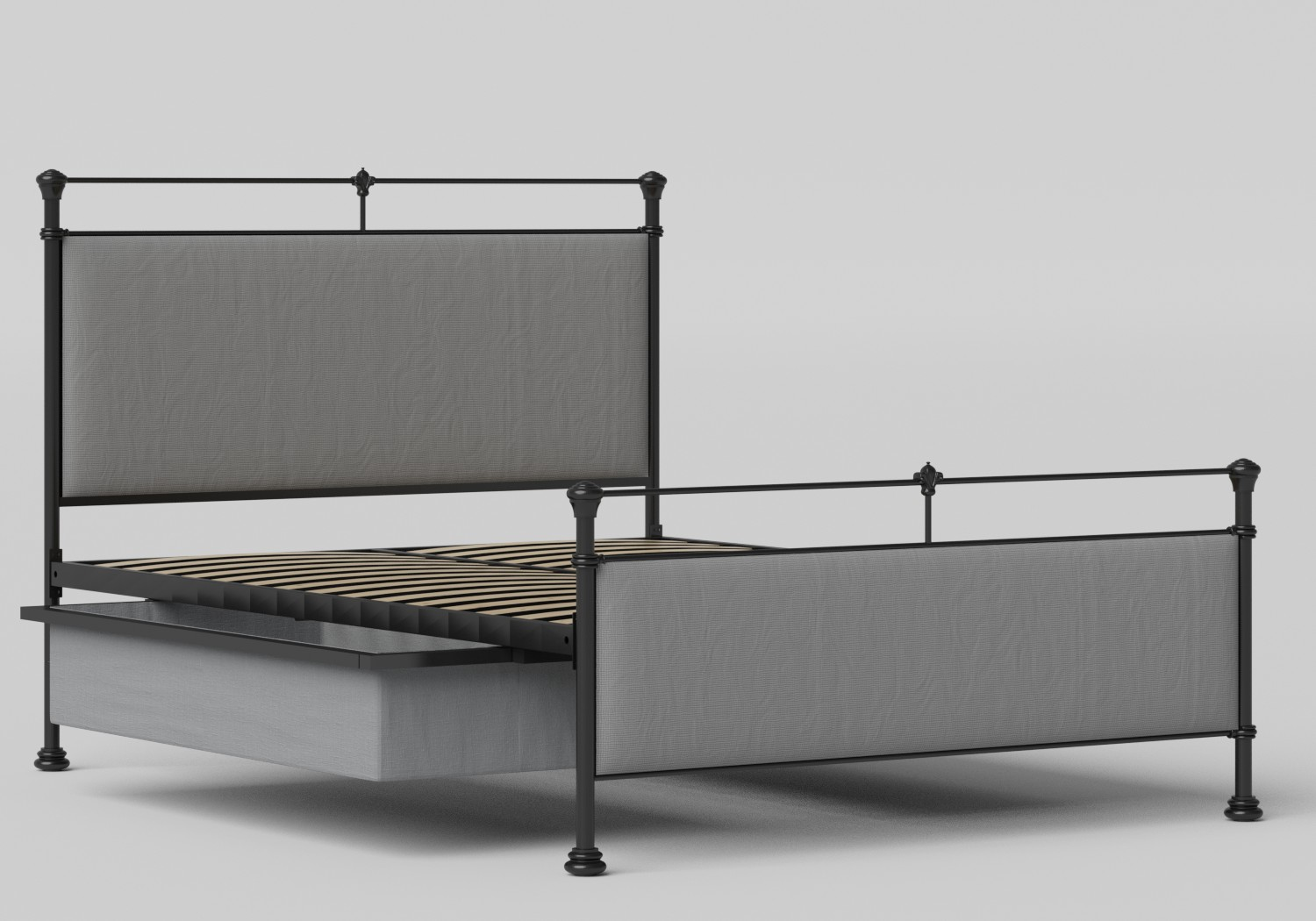 Nancy Iron/Metal Upholstered Bed in Satin Black with Grey fabric shown with underbed storage