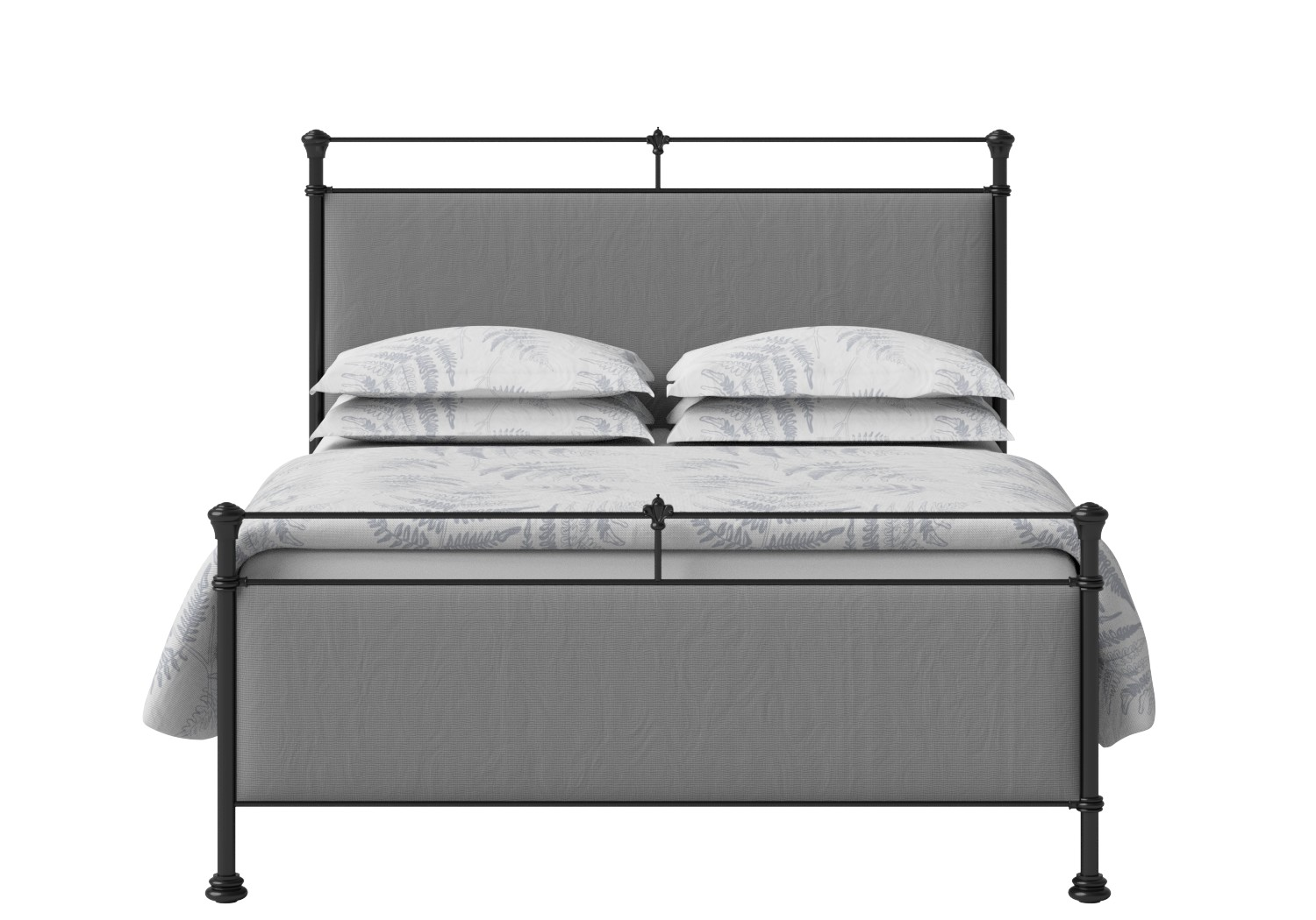 Nancy Iron/Metal Upholstered Bed in Satin Black with Grey fabric