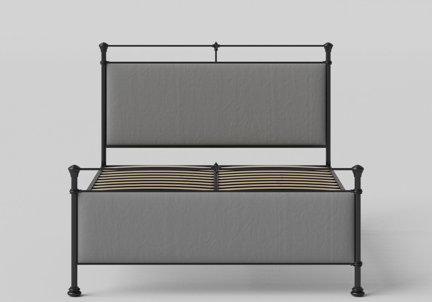 Nancy Iron/Metal Upholstered Bed in Satin Black with Grey fabric shown with slatted frame