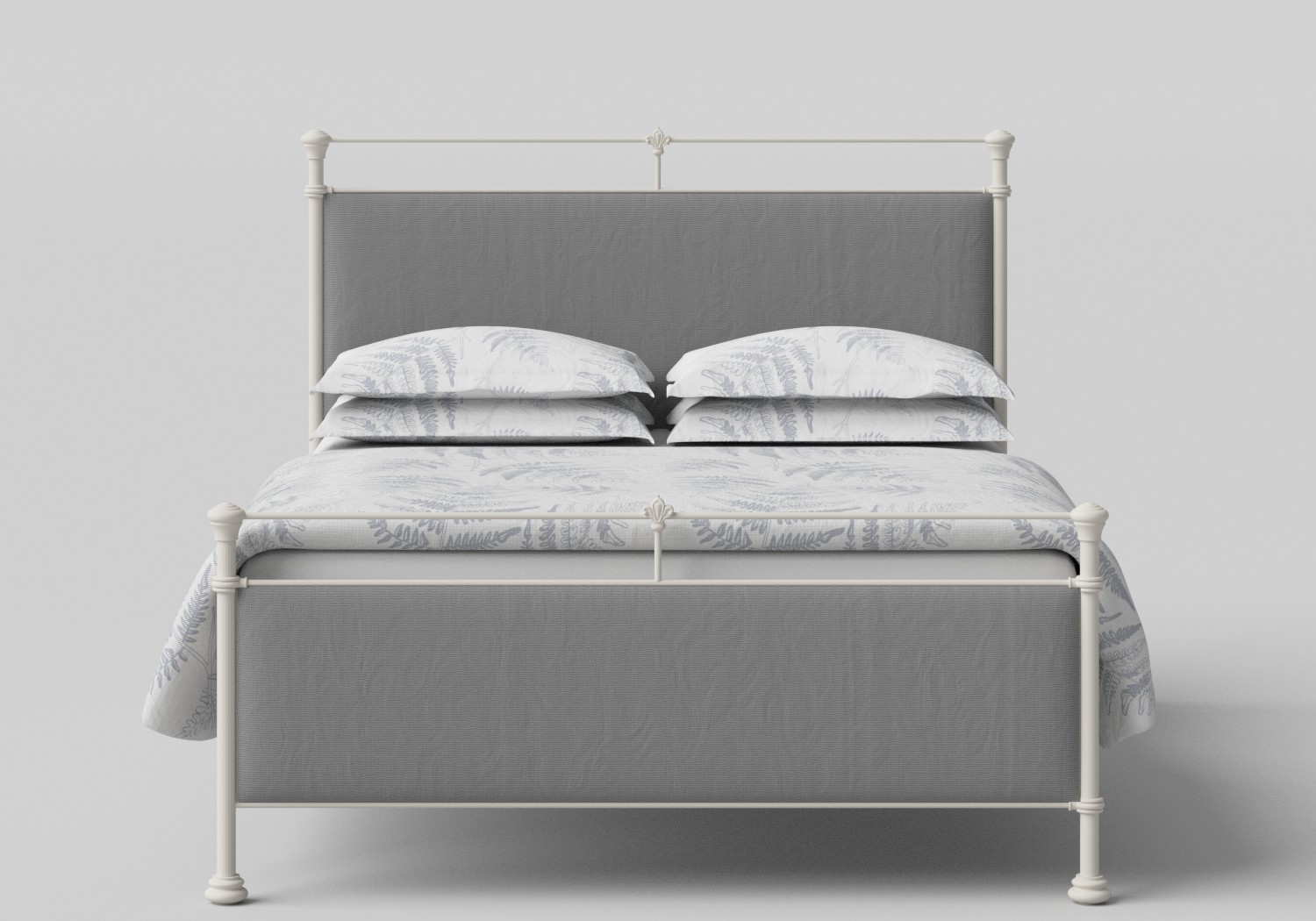 Nancy Iron/Metal Upholstered Bed in Glossy Ivory with Grey fabric