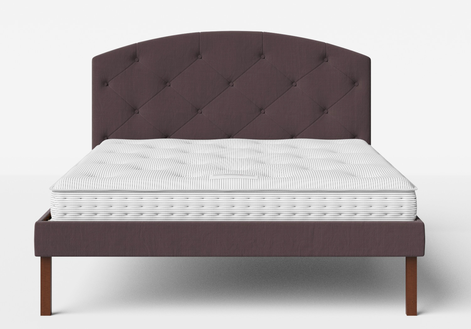 Okawa Upholstered Bed in Aubergine fabric with buttoning shown with Juno 1 mattress