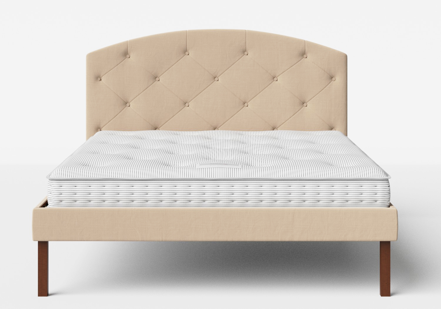 Okawa Upholstered Bed in Natural fabric with buttoning shown with Juno 1 mattress