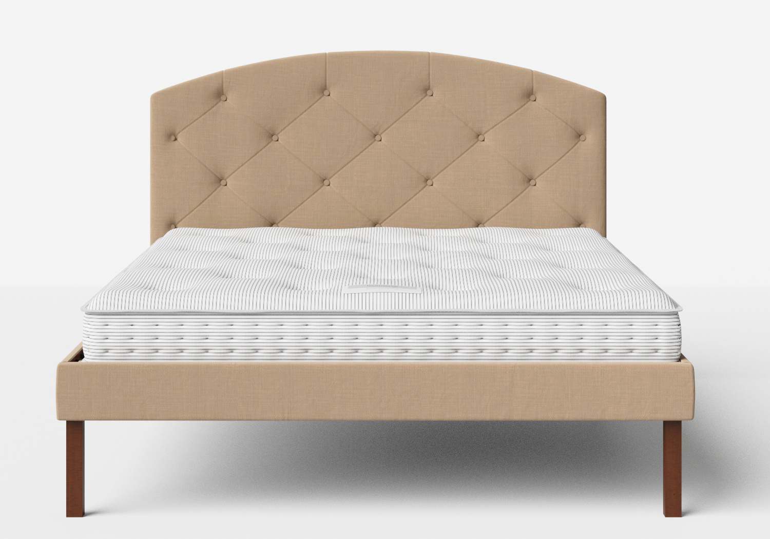 Okawa Upholstered Bed in Straw fabric with buttoning shown with Juno 1 mattress