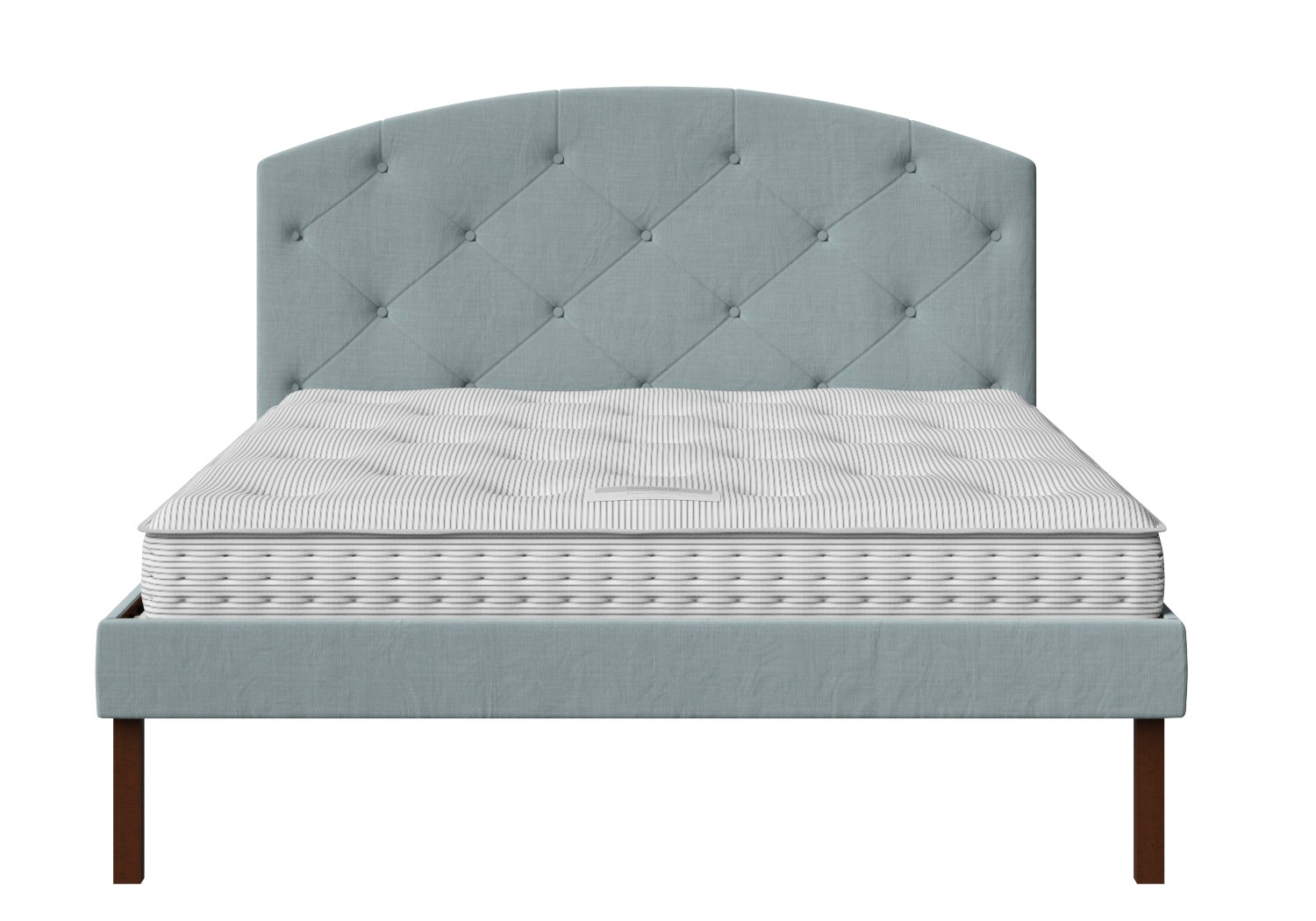 Okawa Upholstered Bed in Wedgewood fabric with buttoning shown with Juno 1 mattress