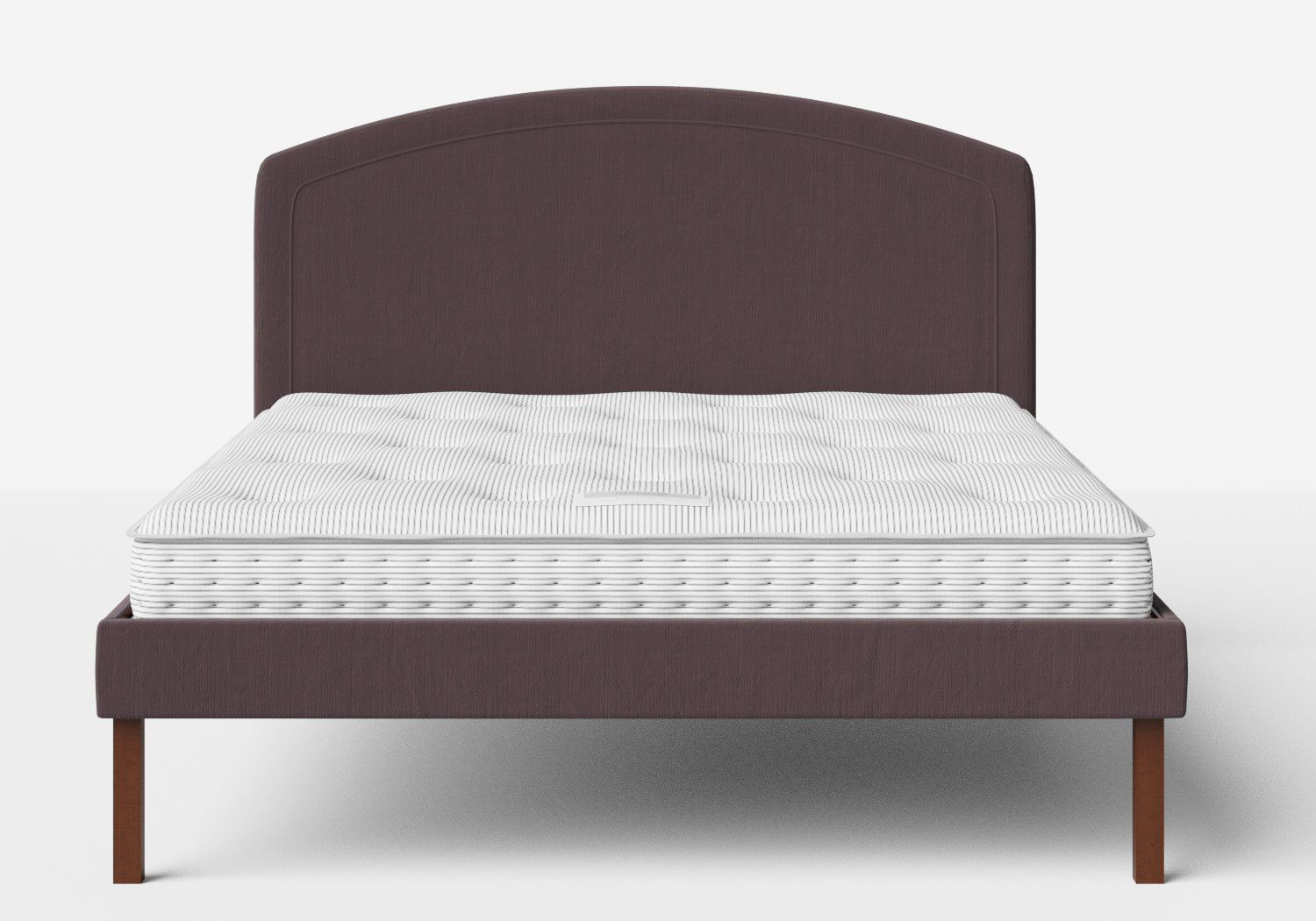 Okawa Upholstered Bed in Aubergine fabric shown with Juno 1 mattress