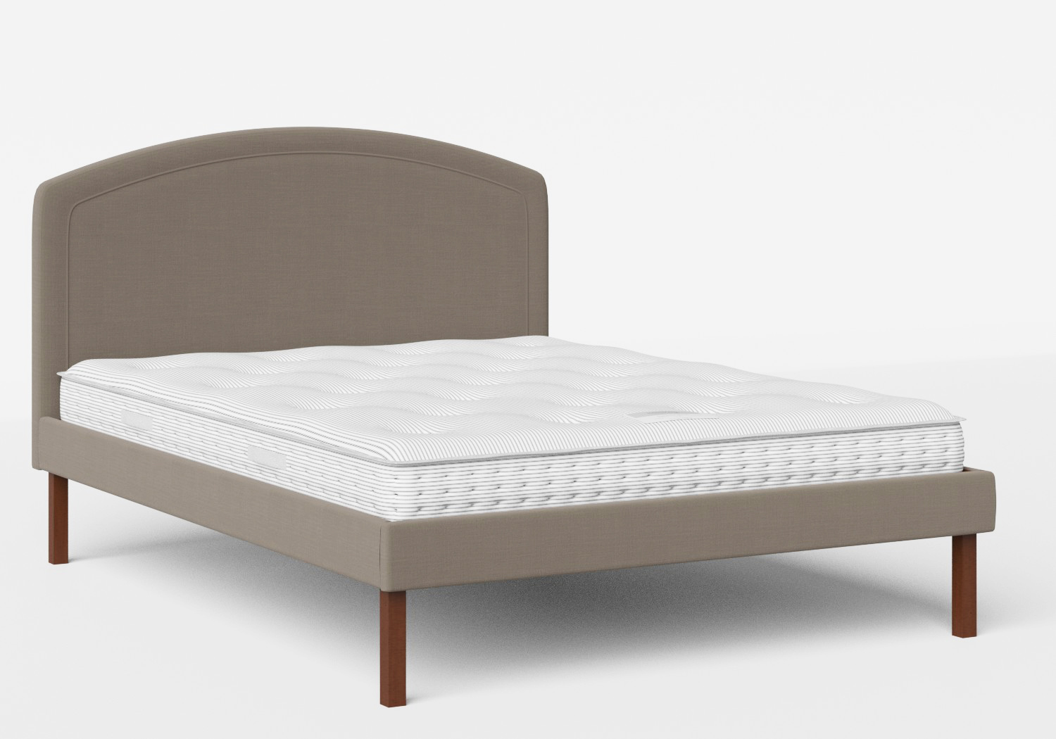 Okawa Upholstered Bed in Grey fabric shown with Juno 1 mattress