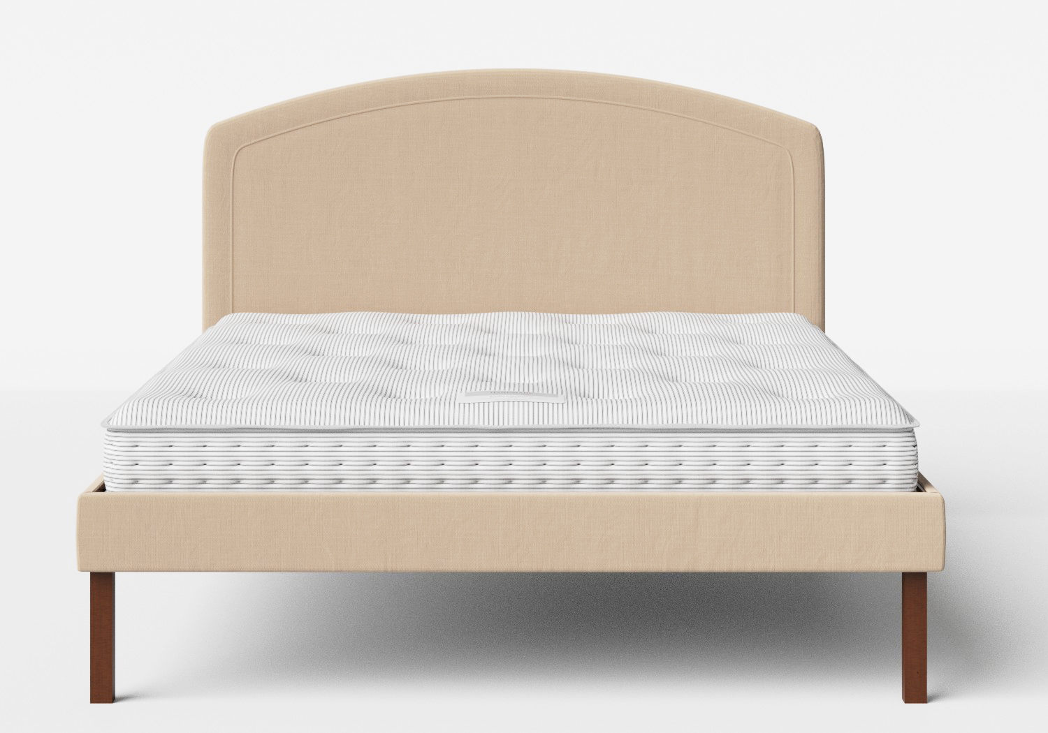 Okawa Upholstered Bed in Natural fabric shown with Juno 1 mattress