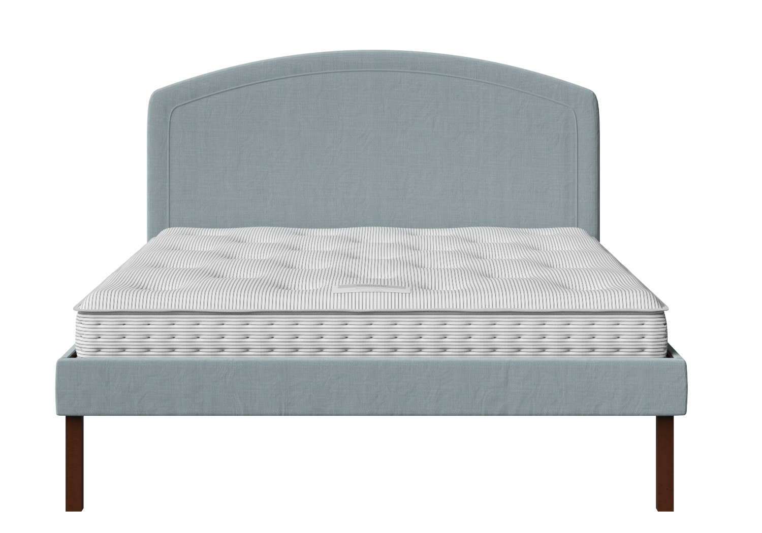 Okawa Upholstered Bed in Wedgewood fabric shown with Juno 1 mattress